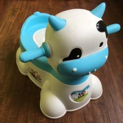 Музыкальный детский горшок-игрушка в виде коровы (синий)