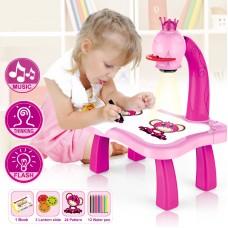 Детский проектор для рисования со столиком PROJECTOR PAINTING (розовый)