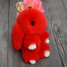 Брелок Меховой Кролик 19 см (натуральный мех) красный