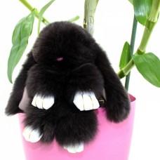 Брелок Меховой Кролик 19 см (натуральный мех) черный