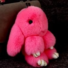 Брелок Меховой Кролик 19 см (натуральный мех) розовый