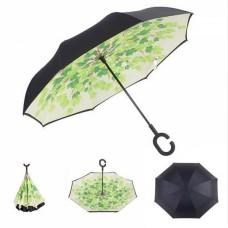 Зонт наоборот UpBrella ЗЕЛЕНЫЕ ЛИСТЬЯ