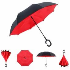 Зонт наоборот UpBrella КРАСНЫЙ ОДНОТОННЫЙ