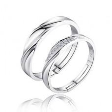 Кольца серебряные парные Для Него и для Нее с цирконием