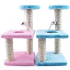 Трёхъярусный игровой комплекс-когтеточка с мышкой (розовый)