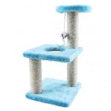 Трёхъярусный игровой комплекс-когтеточка с мышкой (голубой)