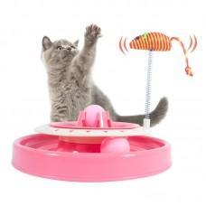 Игрушка-трек для кошек с двумя мячиками Cat Scratch Pan (розовая)