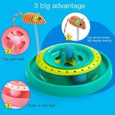 Игрушка-трек для кошек с двумя мячиками Cat Scratch Pan (синяя)