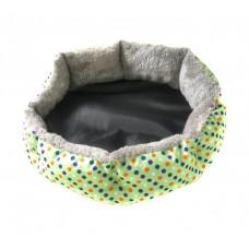 Круглый меховой лежак для кошек и собак (Горошек зеленый)