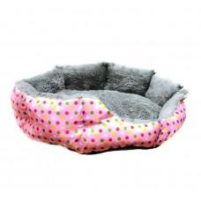 Круглый меховой лежак для кошек и собак (Горошек розовый 40 см)