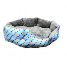 Круглый меховой лежак для кошек и собак (Горошек голубой)