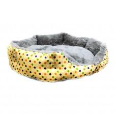 Круглый меховой лежак для кошек и собак (Горошек желтый)